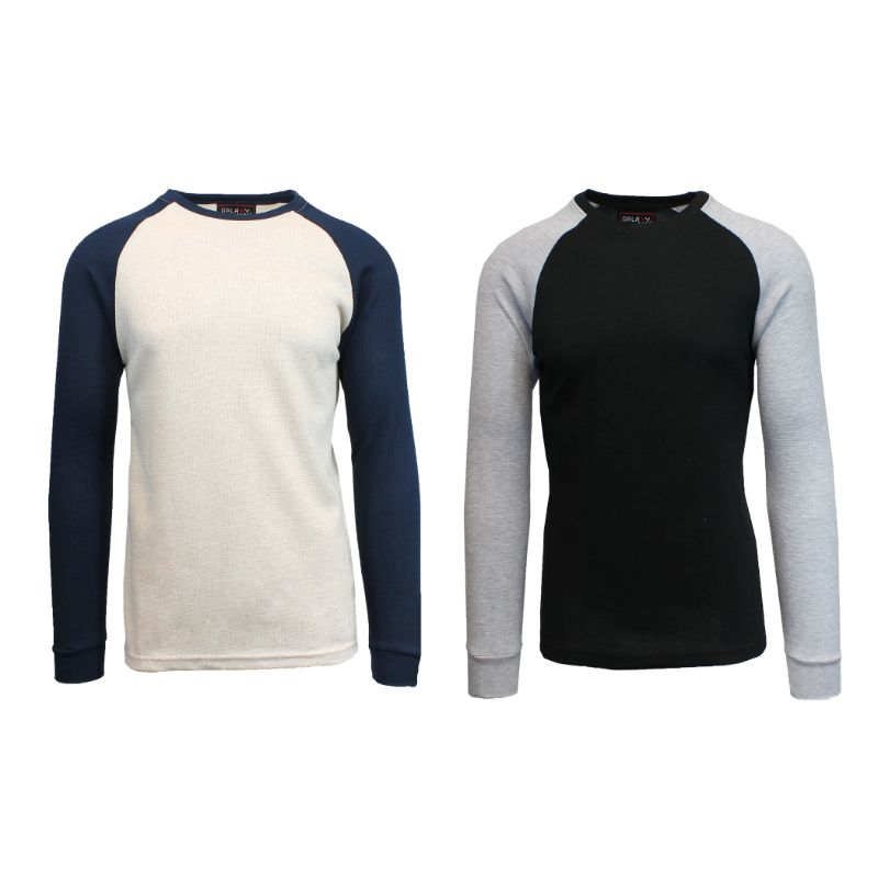 Men's Raglan Thermal Shirt - 2 Pack-Oatmeal/Navy & Black/Heather Grey-Small-Daily Steals