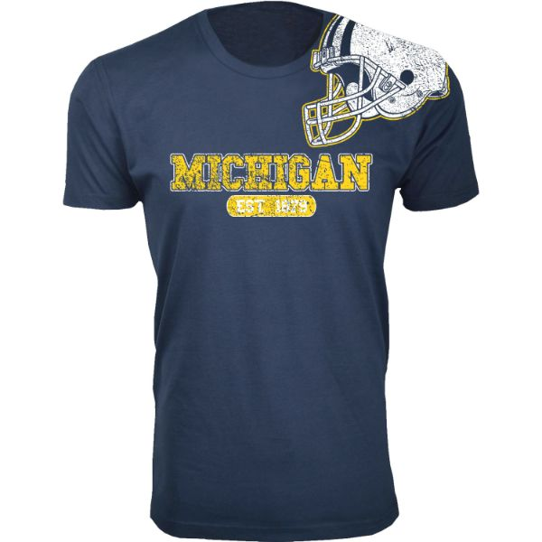 Men's Awesome College Football Helmet T-Shirts-S-Michigan - Navy-Daily Steals
