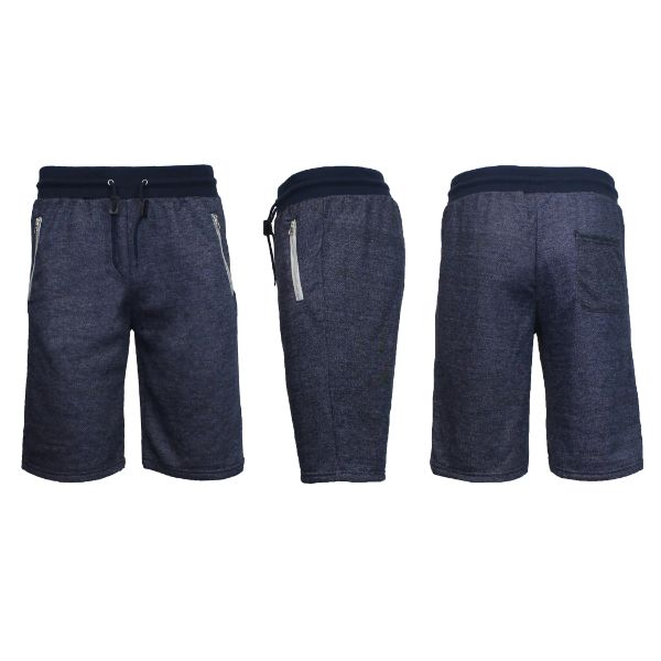 Men's Marled or Solid French Terry Shorts with Zipper Pockets-Heather Navy-Small-Daily Steals