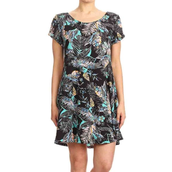 Women's Short Sleeve Summer Tunic Dress-Black/Mint/Multi Tropical Print-Small-Daily Steals