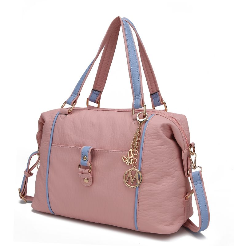 Opal Satchel Handbag by MKF-Pink-Light Blue-Daily Steals