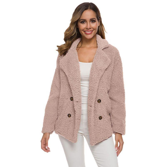 Soft Comfy Plush Pea Coat-Pink-Medium-Daily Steals