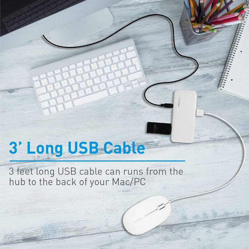 Macally 7 Port Powered USB 2.0 Hub with 5V 2A Power Adapter and 3 Foot Long Cable