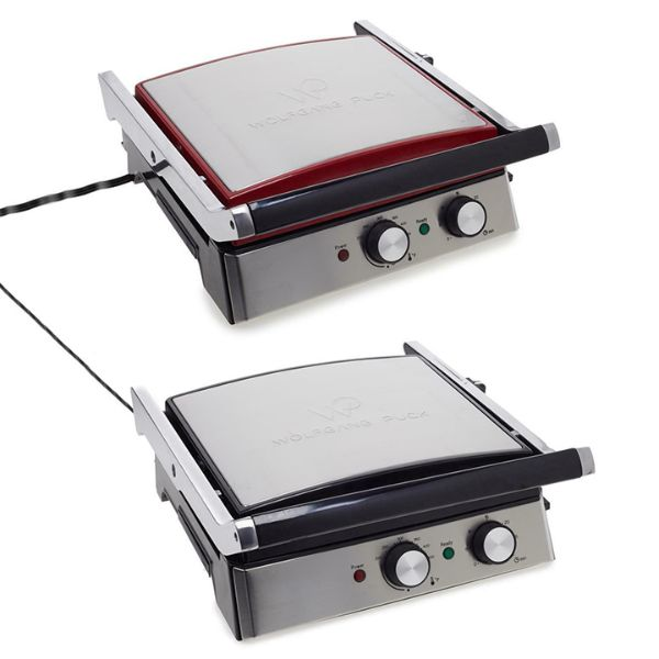 Wolfgang Puck 6-in-1 Reversible Contact Grill and Griddle with Recipes-Red-Daily Steals