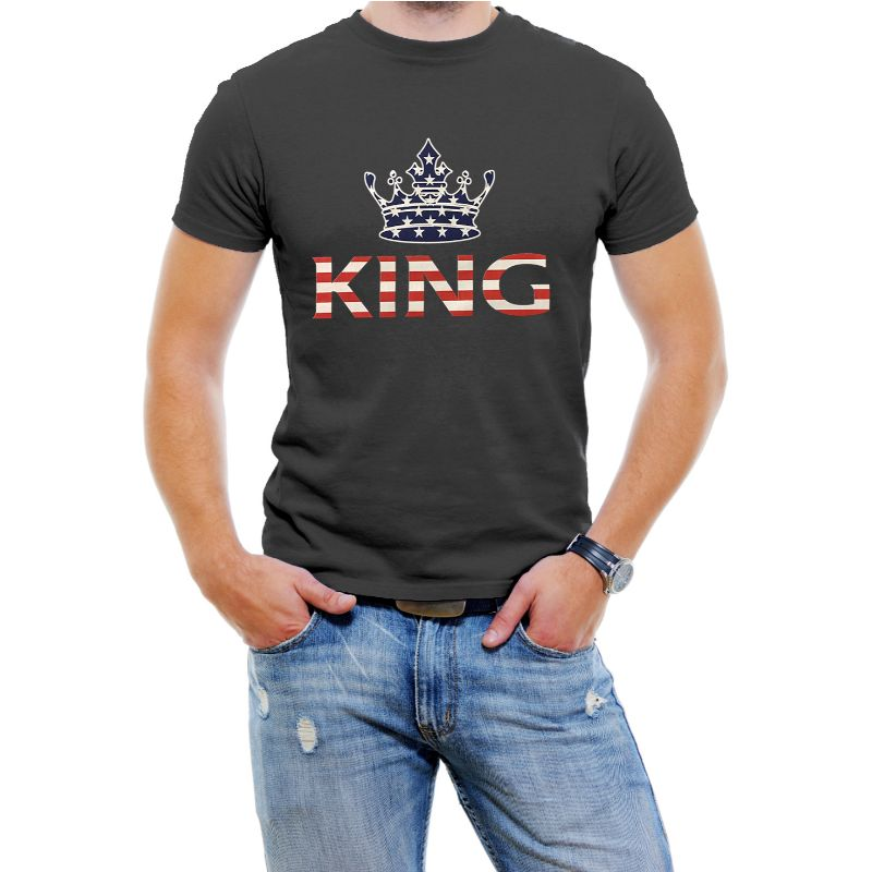 "USA Stars and Stripes ""King"" Men's T-Shirt-Black-4XL-Daily Steals"