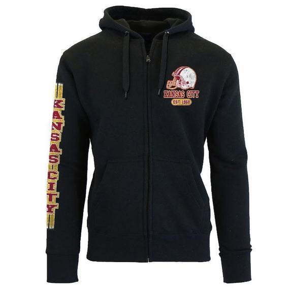 Women's Game Day Football Zip Up Hoodie-Kansas City - Black-L-Daily Steals