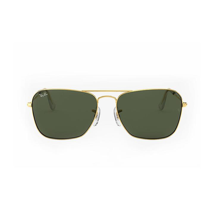 Ray-Ban RB3136 55 CARAVAN 55 Green & Gold Metal Sunglasses-Daily Steals