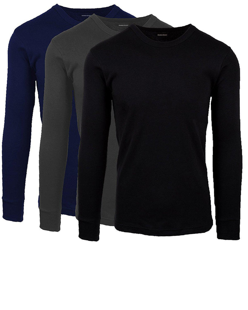 [3-Pack] Andrew Scott Men's Premium Cotton Thermal Shirt-Grey, Black, Navy-S-Daily Steals