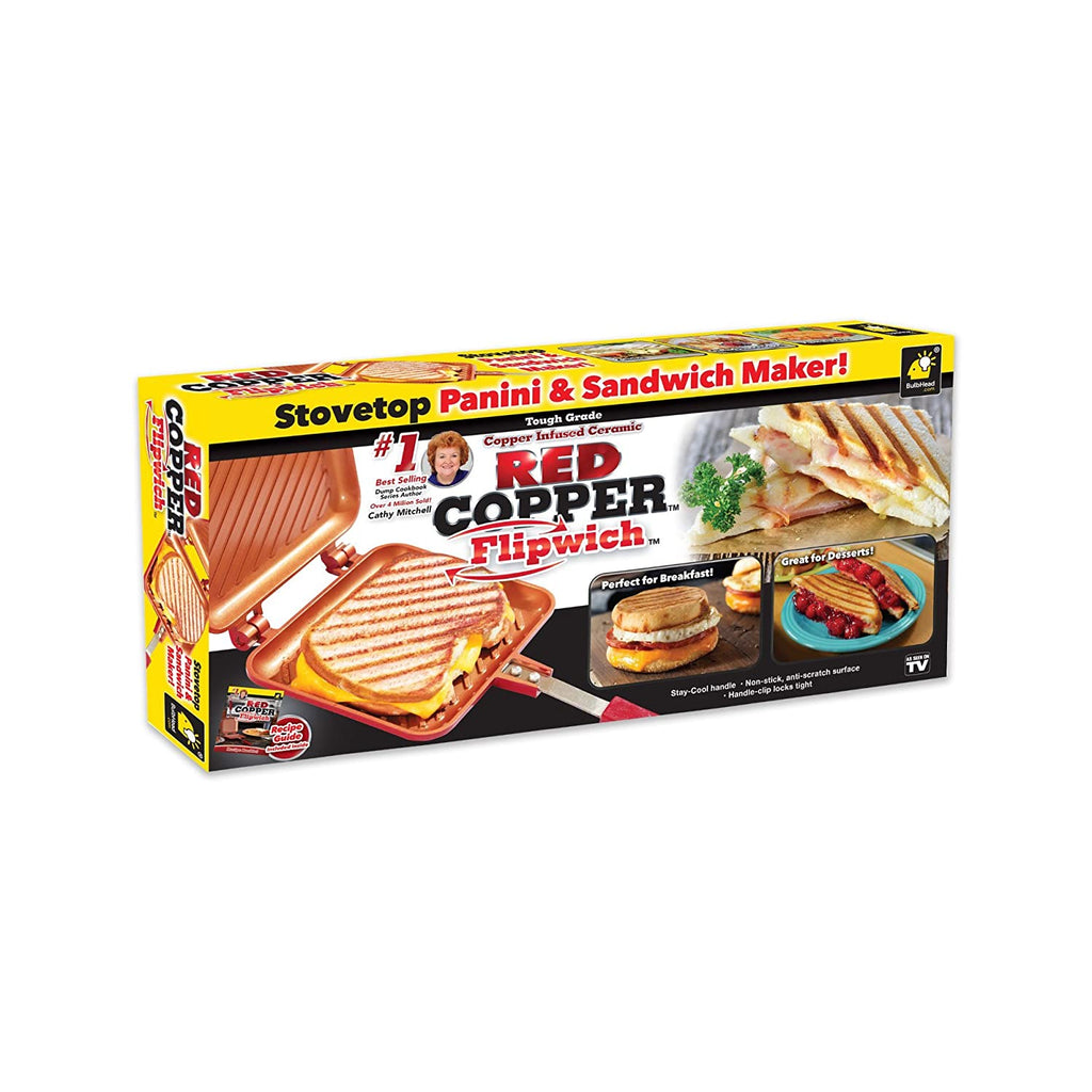 Red Copper Flipwich Non-Stick Grilled Sandwich and Panini Maker-Daily Steals