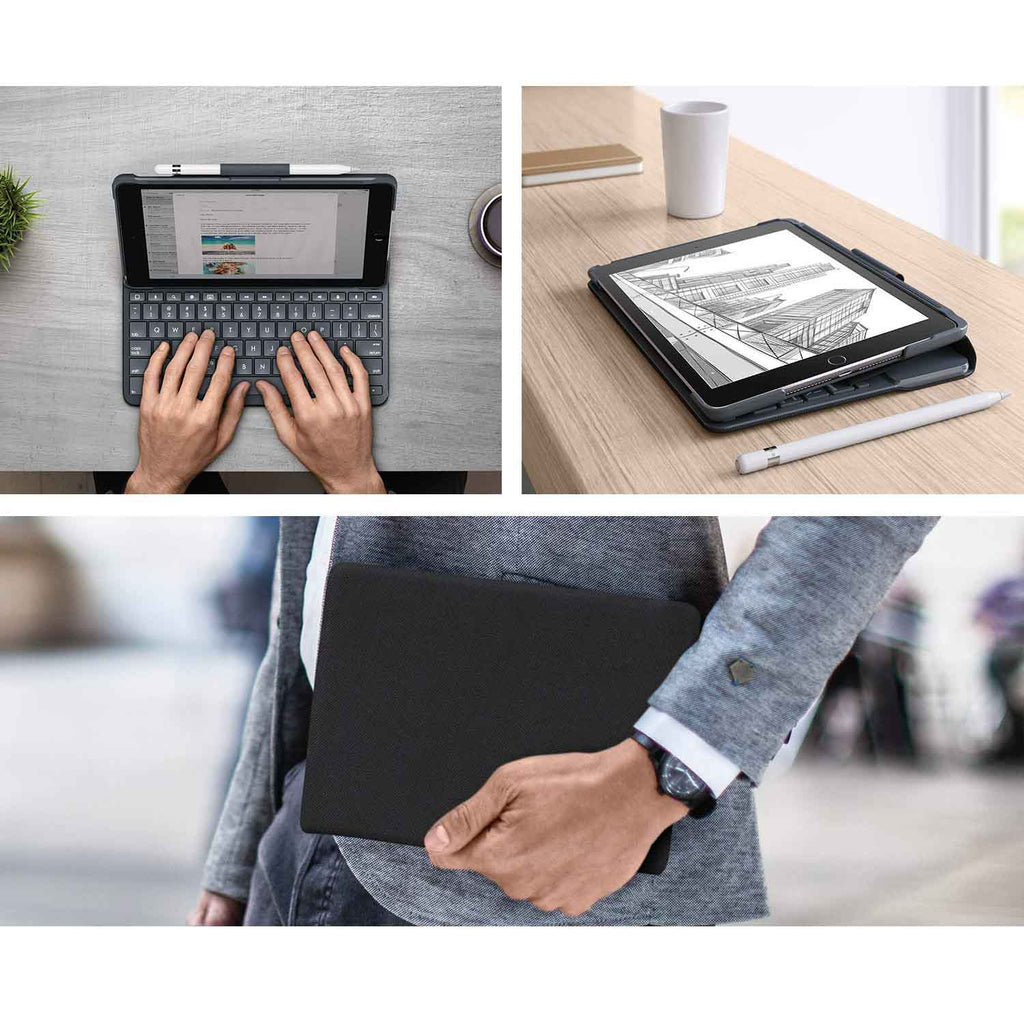 update alt-text with template Daily Steals-Logitech Slim Folio with Integrated Bluetooth Keyboard for iPad (5th and 6th Generation)-Cell and Tablet Accessories-