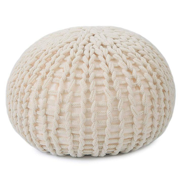 Ultra Plush Chunky Cable Knit Decorative Pouf-Daily Steals