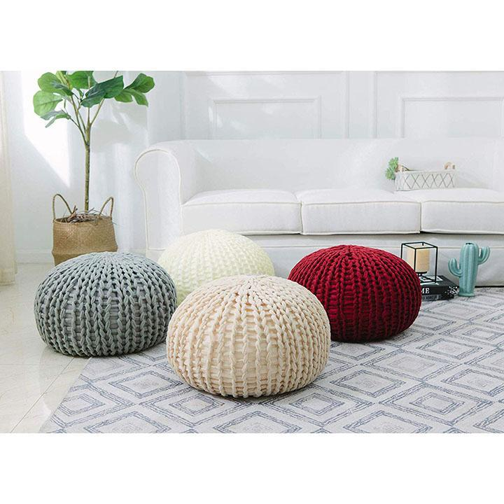 Daily Steals-Ultra Plush Chunky Cable Knit Decorative Pouf-Home and Office Essentials-Burgundy-