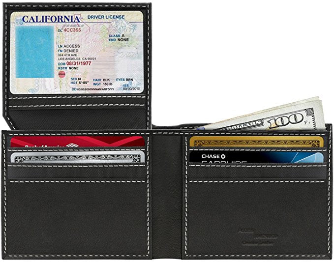 Genuine Leather Bifold Wallets For Men with RFID Blocking-Flip Up ID Window-Daily Steals