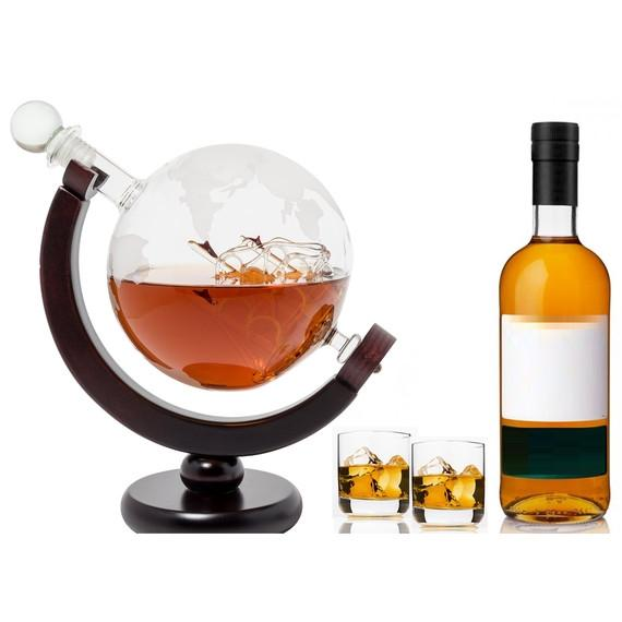 EraVino World Globe Decanter with Antique Glass Ship and Wooden Stand-Daily Steals