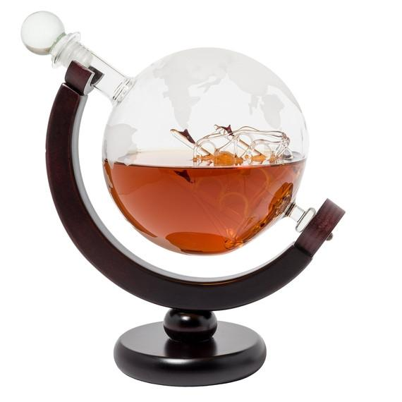 Eravino World Globe Decanter With Antique Glass Ship And Wooden Stand