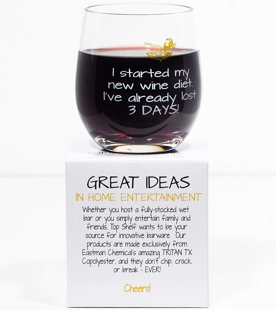 [2-Pack] I Started My New Wine Diet Novelty Unbreakable Wine Glass-Daily Steals