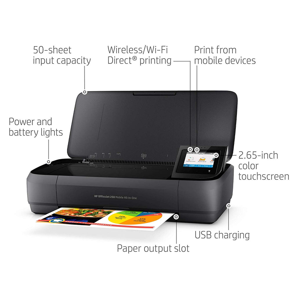 Daily Steals-HP OfficeJet 250 All-in-One Portable Printer with Wireless & Mobile Printing-Home and Office Essentials-
