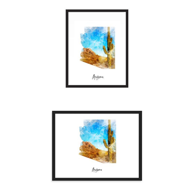 Arizona Watercolor Map Print - Unframed Art Print-Daily Steals