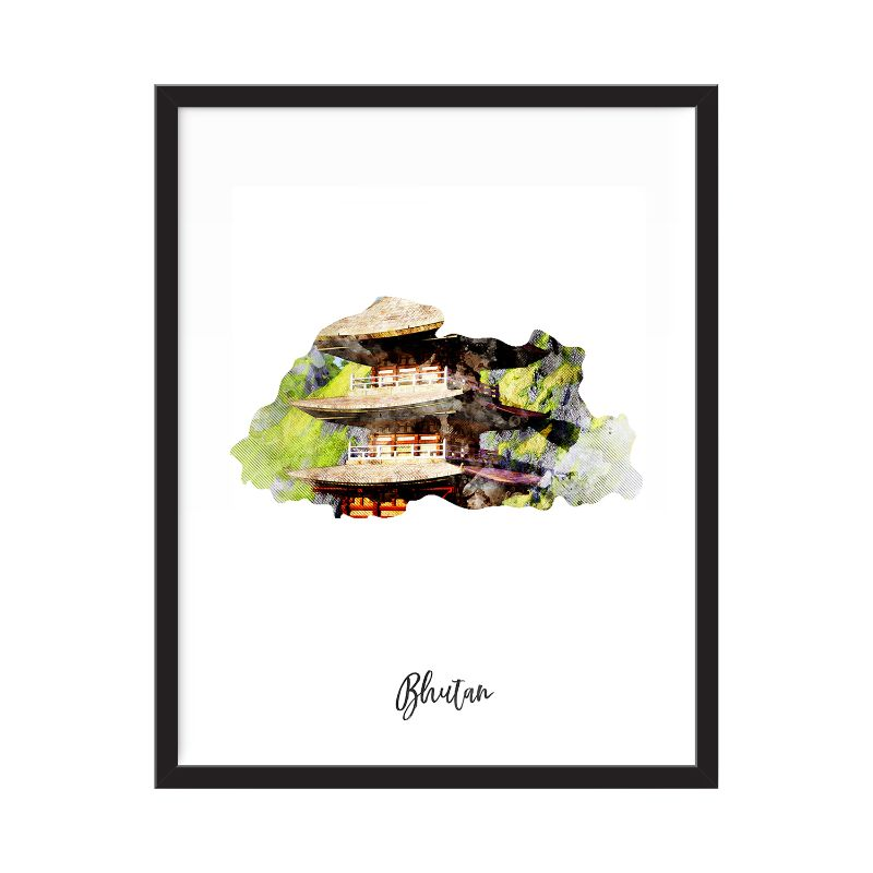 Bhutan Watercolor Map Print - Unframed Art Print-Daily Steals