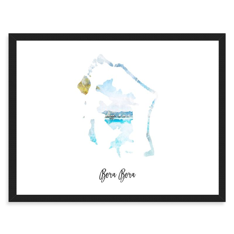 Bora Bora Watercolor Map Print - Unframed Art Print-Daily Steals