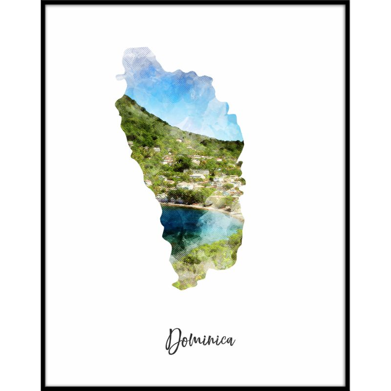 Dominica Watercolor Map Print - Unframed Art Print-Daily Steals