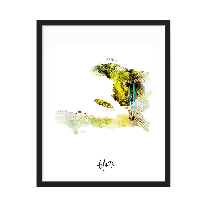 Haiti Watercolor Map Print - Unframed Art Print-Daily Steals
