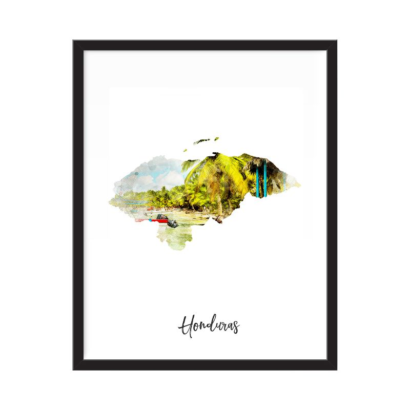 Honduras Watercolor Map Print - Unframed Art Print-Daily Steals