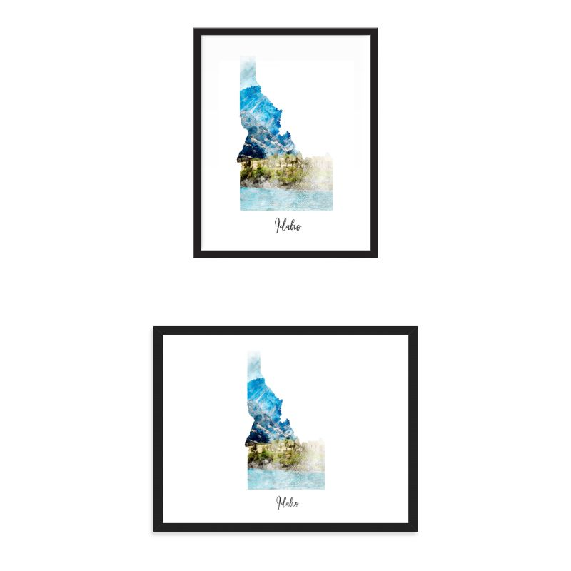 Idaho Watercolor Map Print - Unframed Art Print-Daily Steals
