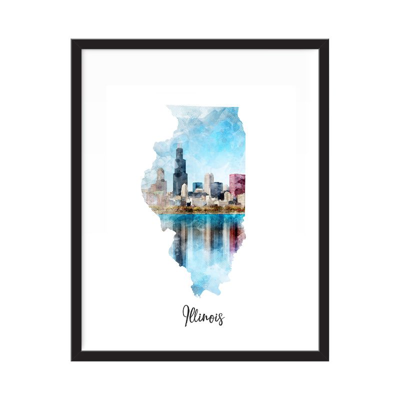 Illinois Watercolor Map Print - Unframed Art Print-Daily Steals