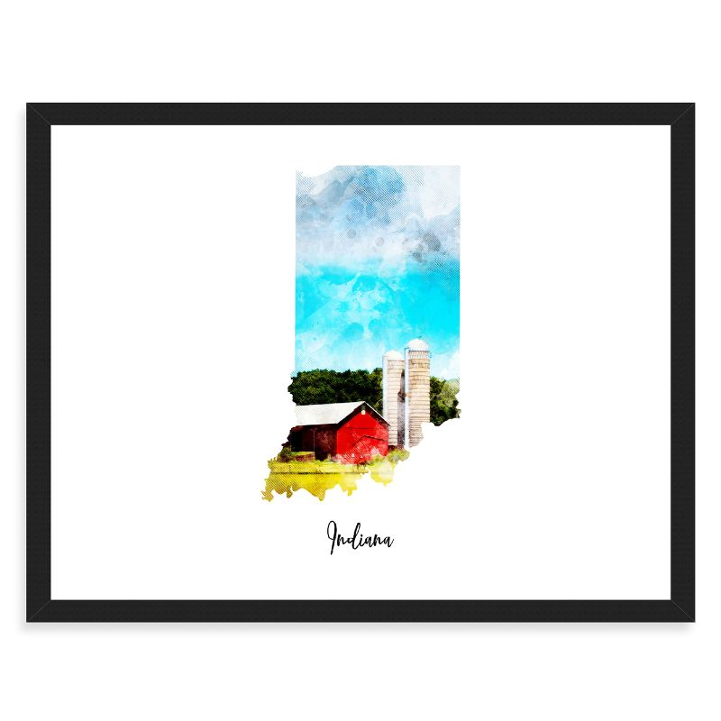 Indiana Watercolor Map Print - Unframed Art Print-Daily Steals