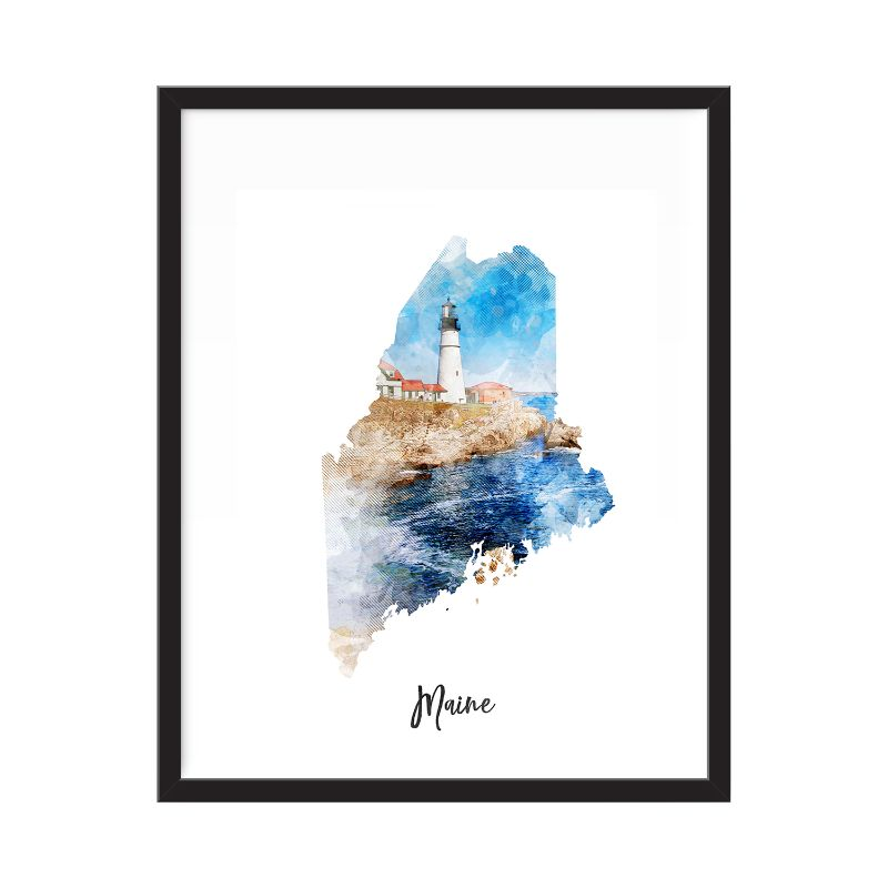 Maine Watercolor Map Print - Unframed Art Print-Daily Steals