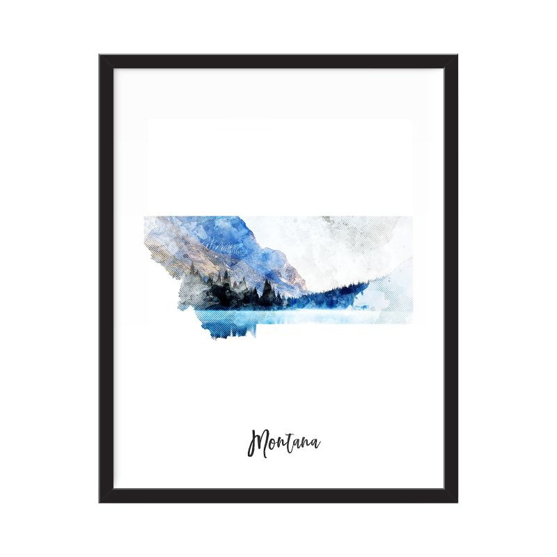 Montana Watercolor Map Print - Unframed Art Print-Daily Steals