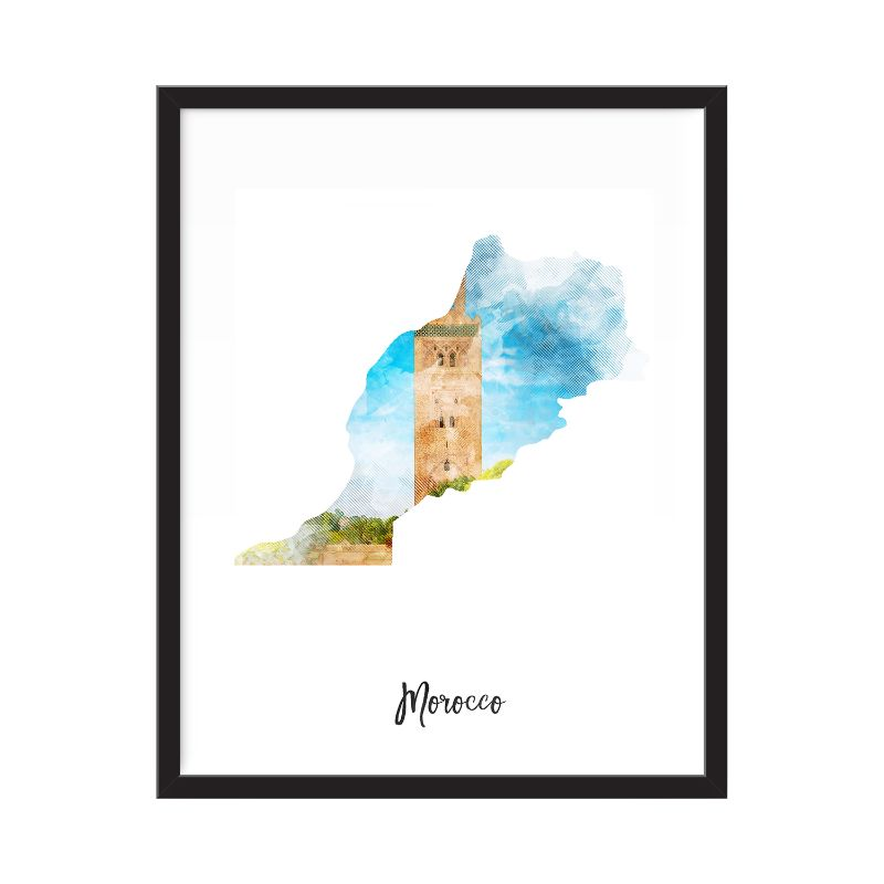 Morocco Watercolor Map Print - Unframed Art Print-Daily Steals