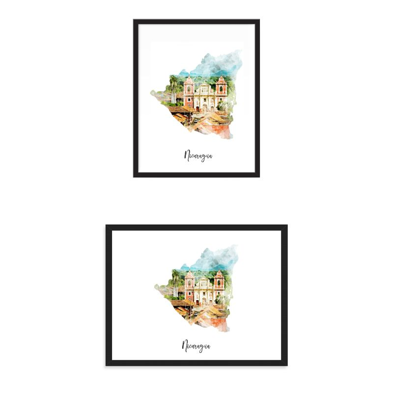 Nicaragua Watercolor Map Print - Unframed Art Print-Daily Steals