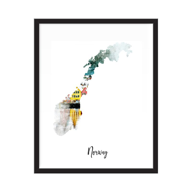 Norway Watercolor Map Print - Unframed Art Print-Daily Steals