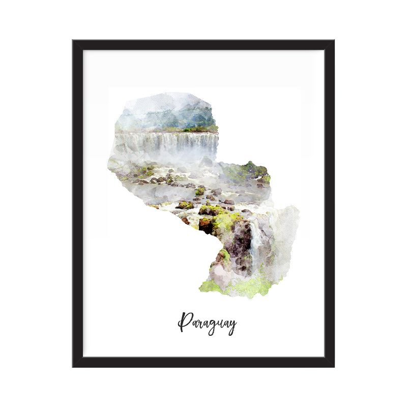 Paraguay Watercolor Map Print - Unframed Art Print-Daily Steals