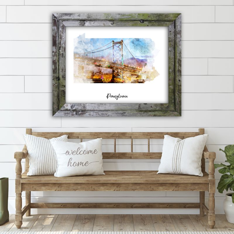 "Pennsylvania Watercolor Map Print - Unframed Art Print-10""x8""-Horizontal/Landscape-Daily Steals"