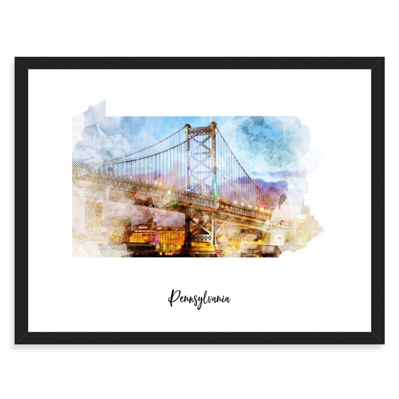 Pennsylvania Watercolor Map Print - Unframed Art Print-Daily Steals
