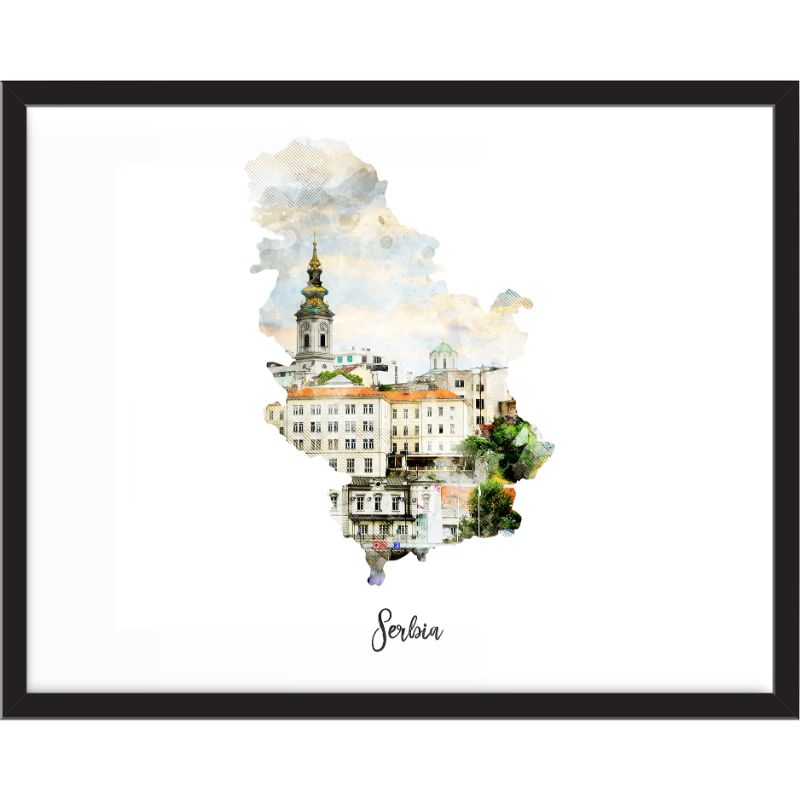 Serbia Watercolor Map Print - Unframed Art Print-Daily Steals