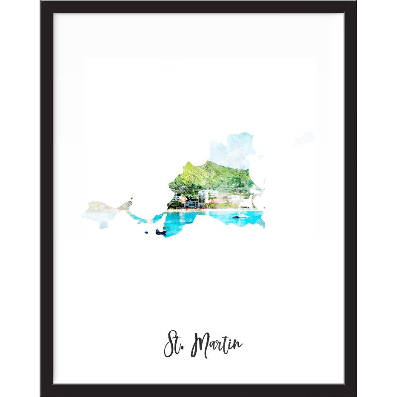 St. Martin Watercolor Map Print - Unframed Art Print-Daily Steals