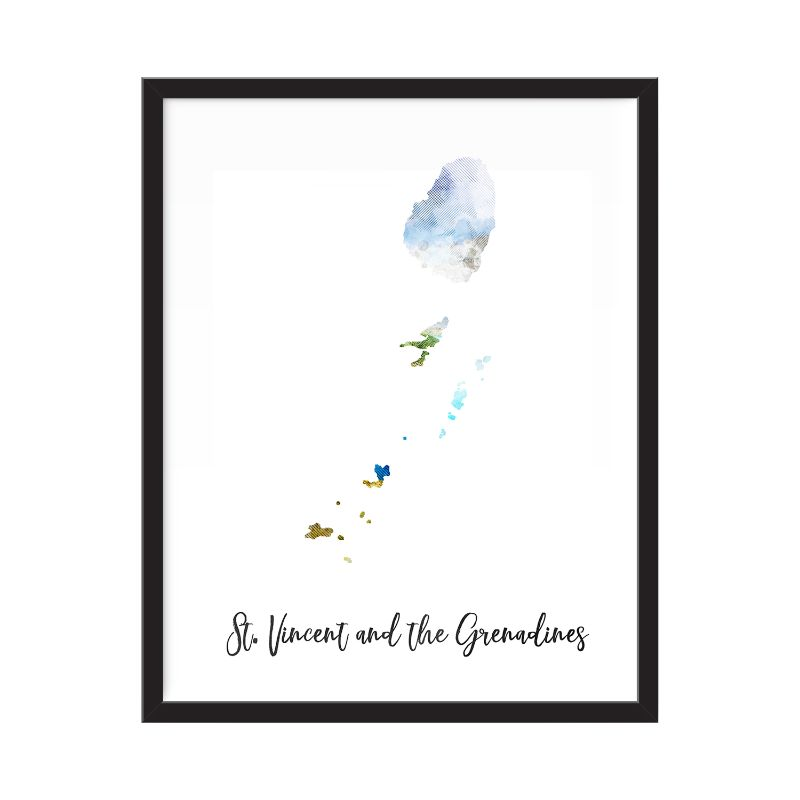 "St. Vincent and The Grenadines Watercolor Map Print - Unframed Art Print-12""x16""-Vertical/Portrait-Daily Steals"