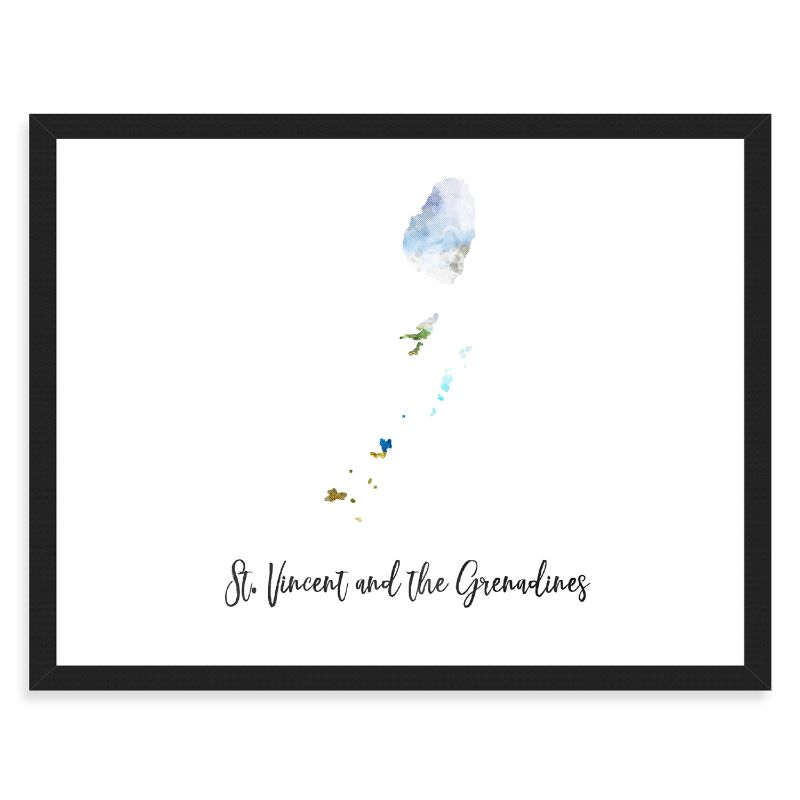 "St. Vincent and The Grenadines Watercolor Map Print - Unframed Art Print-16""x12""-Horizontal/Landscape-Daily Steals"
