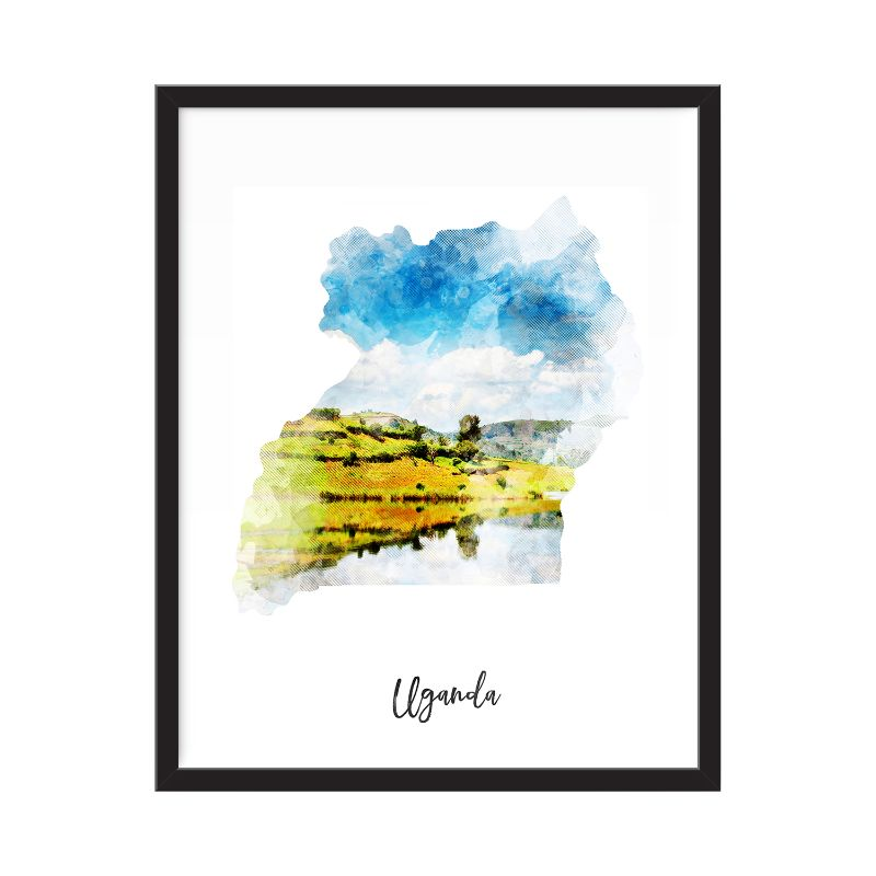 Uganda Watercolor Map Print - Unframed Art Print-Daily Steals
