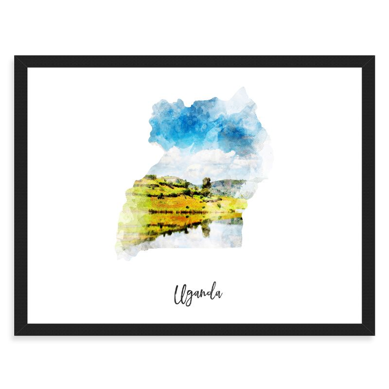 "Uganda Watercolor Map Print - Unframed Art Print-16""x12""-Horizontal/Landscape-Daily Steals"