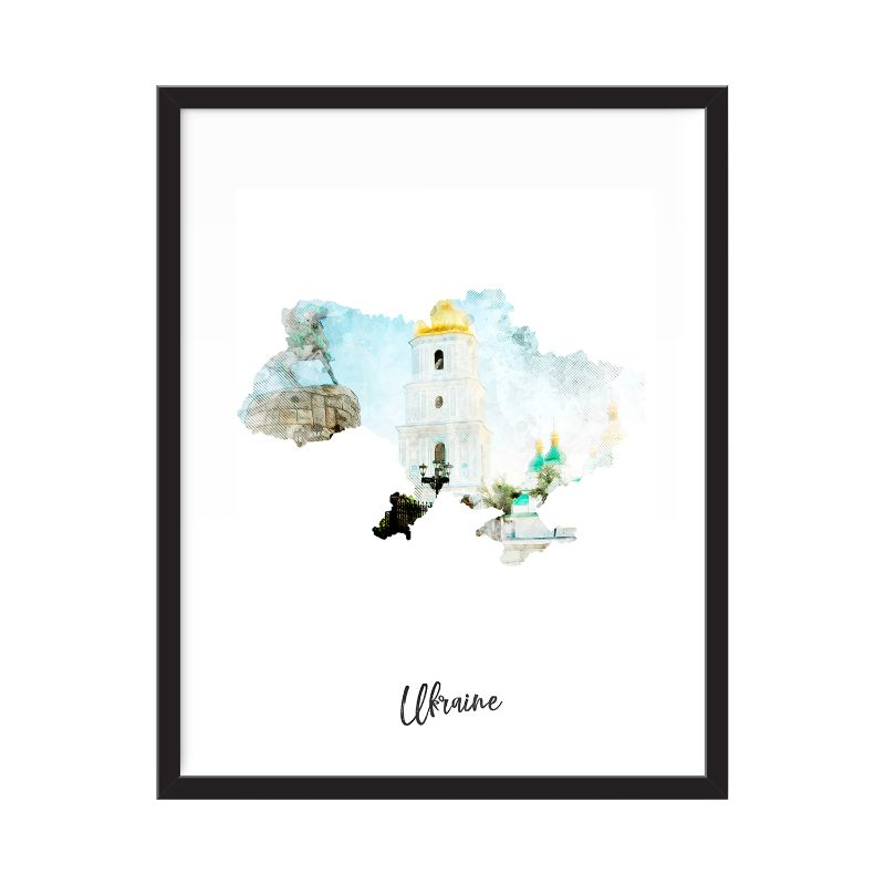 Ukraine Watercolor Map Print - Unframed Art Print-Daily Steals