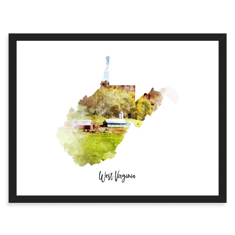 "West Virginia Watercolor Map Print - Unframed Art Print-18""x12""-Horizontal/Landscape-Daily Steals"