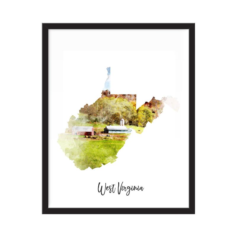 West Virginia Watercolor Map Print - Unframed Art Print-Daily Steals