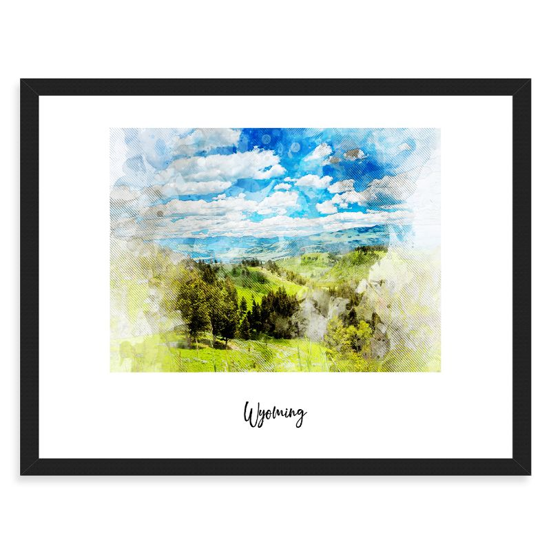 Wyoming Watercolor Map Print - Unframed Art Print-Daily Steals