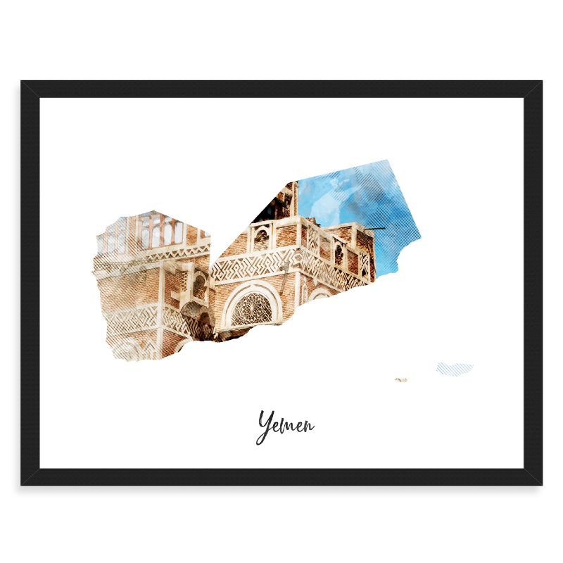 "Yemen Watercolor Map Print - Unframed Art Print-18""x12""-Horizontal/Landscape-Daily Steals"