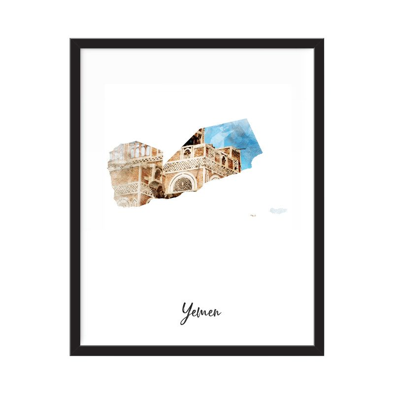 Yemen Watercolor Map Print - Unframed Art Print-Daily Steals